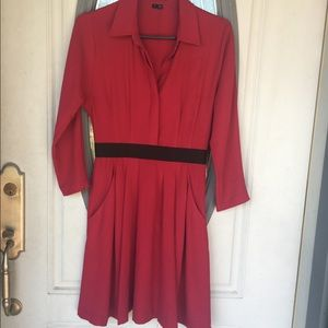 Theory dress dark red clemira intellect dress sz 2